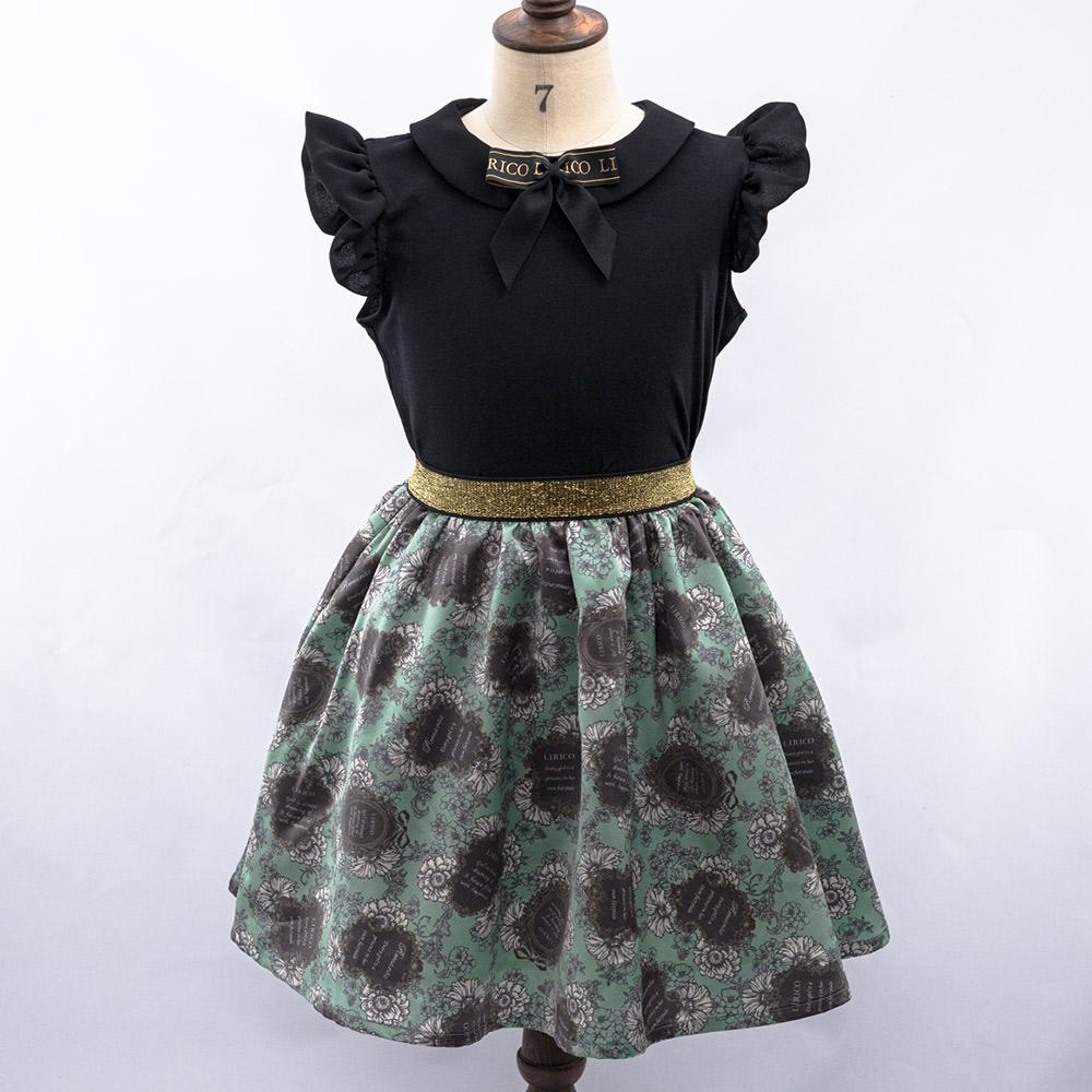 リボン付き フリルノースリーブ&スカート(バックボタン)グリーン キッズウエア フォーマル デイリー