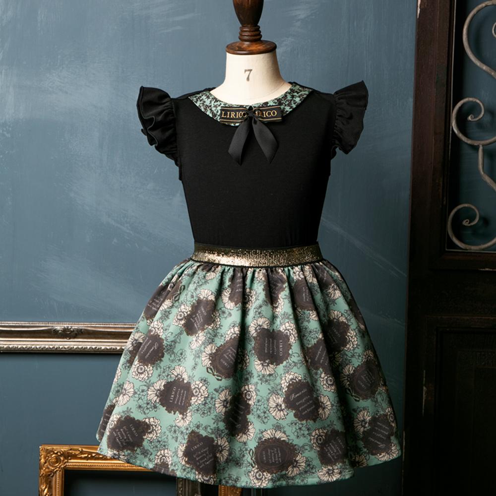 リボン付き フリルノースリーブ&ラベル柄スカート プレジー(グリーン) キッズウエア フォーマル デイリー