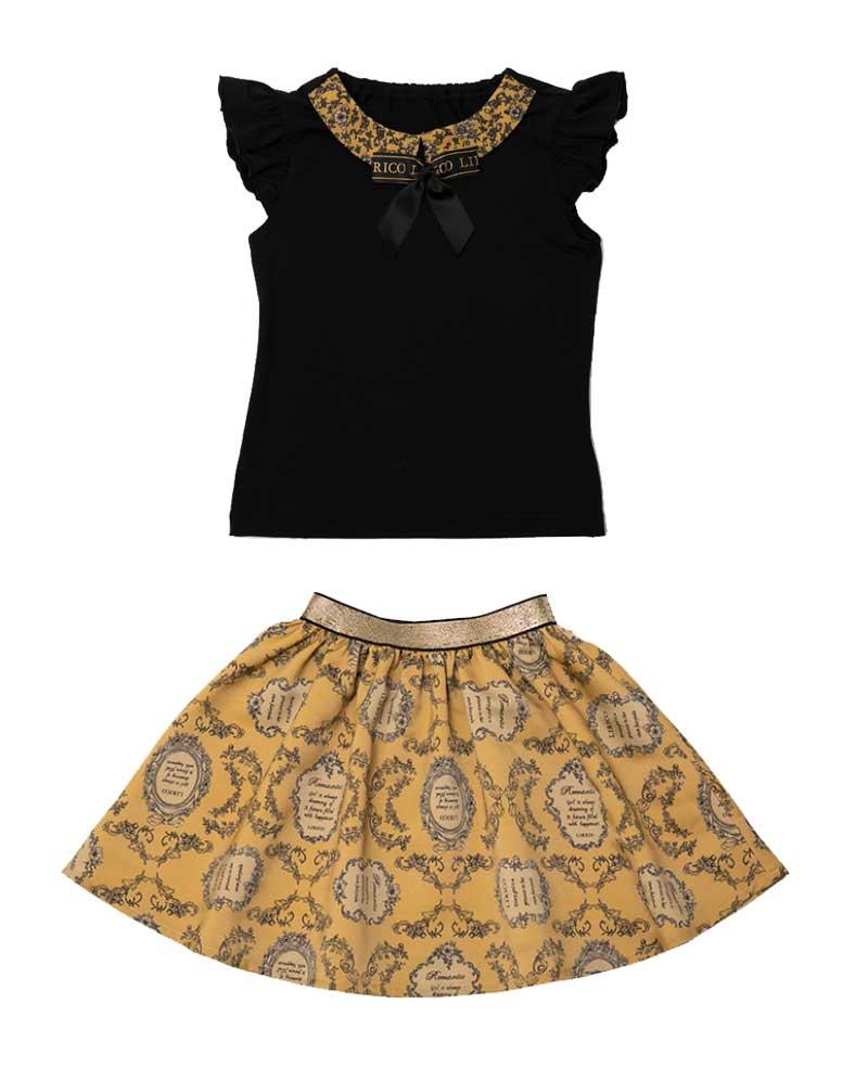 リボン付きフリルノースリーブ&フラワーラベル柄スカート画像